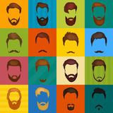 Mans hair set of beards and mustaches vector. Hipster style fashion beards and hair  illustration. Peoples. Hairstyle icon, collection of beards and mustaches Royalty Free Stock Photos