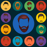 Mans hair set of beards and mustaches vector. Hipster style fashion beards and hair  illustration. Peoples Royalty Free Stock Images