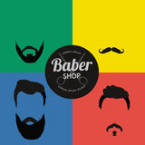 Mans hair set of beards and mustaches vector. Hipster style fashion beards and hair  illustration. Peoples Royalty Free Stock Photo