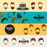 Mans hair set of beards and mustaches vector. Hipster style fashion beards and hair isolated illustration. Peoples Stock Image