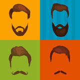 Mans hair set of beards and mustaches vector. Hipster style fashion beards and hair isolated illustration. Peoples Stock Images