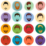 Mans hair set of beards and mustaches vector. Hipster style fashion beards and hair isolated illustration.  Royalty Free Stock Image