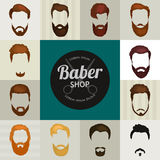 Mans hair set of beards and mustaches vector.  Stock Images