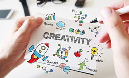 Mans hand drawing Creativity concept on notebook Stock Photography