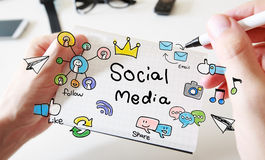 Mans hand drawing Social Media concept on notebook. Mans hand drawing Social Media concept on white notebook Stock Photo