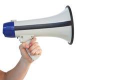 Mans hand holding a megaphone Stock Photos