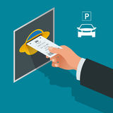 Mans hand with Parking tickets. Isometric Flat illustration vector icon for web. Urban transport. Parking space Stock Image