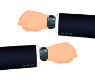 Mans hand right and left with smart watch. Suit sleeve. The position looking at the watch Royalty Free Stock Image