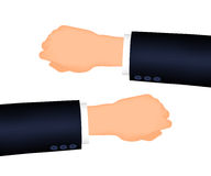 Mans hand right and left, suit sleeve. Mans hand right and left. Suit sleeve. The position looking at the watch Royalty Free Stock Image