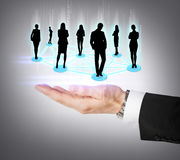 Mans hand showing social or business network Royalty Free Stock Photos