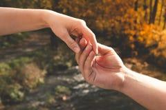 Mans handen som rymmer försiktigt kvinnlign mot bakgrunden av th arkivfoton