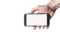 Mans handinnehav och använda den smarta telefonmodellen för mobil Royaltyfria Bilder
