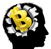 Obsessed With Bitcoin. A mans head in silhouette with gold Bitcoin sign symbol. Concept for thinking or dreaming about making money with Bitcoin vector illustration