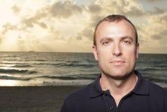 Mans headshot at the beach Stock Photo