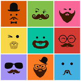 Mans icons faces and characters Stock Photography