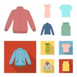 A mans jacket, a tunic, a T-shirt, a business suit. Clothes set collection icons in cartoon,flat style vector symbol. Stock illustration Stock Photos