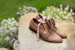 Mans leather classic shoes. Outdoor Stock Photos