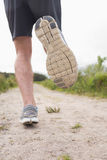 Mans legs jogging rear view Stock Images