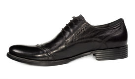 Mans low heeled classical black shoe Stock Images