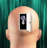 Mans mind. Opened to human light bulb Royalty Free Stock Image