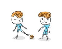 Mans playing football on a white background. flat style, characters of soccer player, hand drawn vector. Illustration stock illustration