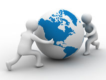 Mans rolls the globe on a white background. Isolated 3D image Royalty Free Stock Photography