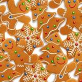Mans sömlös bakgrund för vektorn med den realistiska julpepparkakan, julträd och snöflingor som dekoreras med isläggning stock illustrationer