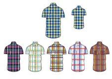 Mans short sleeve  various check shirt Clothing  design template Stock Photos