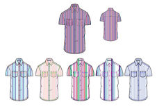 Mans short sleeve various stripe casual colorful shirt Clothing design template Stock Photos