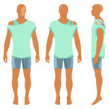 Mans silhouette  in summertime clothes Stock Photos