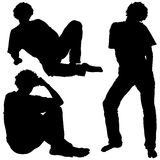 Mans Silhouettes 01. High detailed black and white illustrations Royalty Free Stock Images