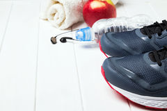 Mans sneakers and other training accessories Stock Image
