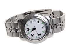 Mans stainless steel wrist watch Stock Photography