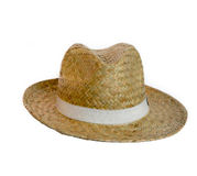 Mans  straw hat. A straw hat isolated on a white Stock Photos