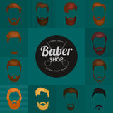 Mans trendy haircut types for barber shop. Isolated collection of mans beards design, haircut of head heir and mustaches Royalty Free Stock Image