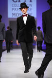 Mans wear suits from Slava Zaytzev walk catwalk Royalty Free Stock Image