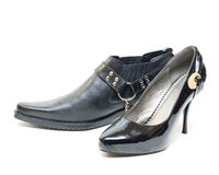 Mans and womans shoes Royalty Free Stock Images