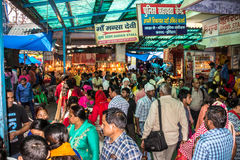 Mansa Devi Temple. Is very holy and busy, but on the inside it is quite ugly and always packed with Hindu believers. It is situated on a mountain near Haridwar Stock Photography