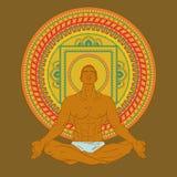 Mansammanträde i meditation poserar på mandalabakgrund Royaltyfri Fotografi