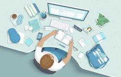 Mansammanträde på tabellen Skrivbords- Workspacefåtölj för arbetsplats, kontorstillförsel, bildskärm, böcker, anteckningsbok royaltyfri illustrationer