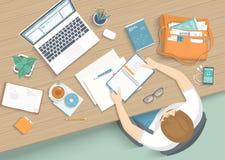Mansammanträde på trätabellen Skrivbords- Workspacefåtölj för arbetsplats, kontorstillförsel, bildskärm, böcker, anteckningsbok royaltyfri illustrationer