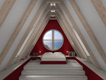 Mansard bedroom. Fictitious 3D rendering of an mansard bedroom with fantastic view Royalty Free Stock Photos