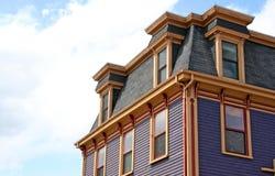 Mansard Roof. On an old heritage house in Lunenburg, Nova Scotia stock image