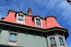 Mansard style roof on house in Cape May, New Jersey royalty free stock image