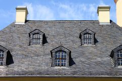Mansard windows. In a old style roof Royalty Free Stock Photos