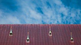 Mansarda dach z okno i kominem Ryskimi, Latvia zdjęcie royalty free