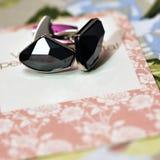 Manschettenknöpfe auf Hochzeitskarte Lizenzfreie Stockbilder