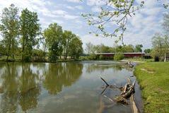 Mansfield bridge. Mansfield covered bridge, Parke County, Indiana. 1867. 247 feet in length. Crosses Big Raccoon Creek Royalty Free Stock Image