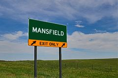 US Highway Exit Sign for Mansfield. Mansfield `EXIT ONLY` US Highway / Interstate / Motorway Sign stock photo