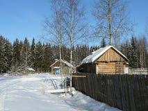 Mansión de madera en el bosque del pino Foto de archivo libre de regalías